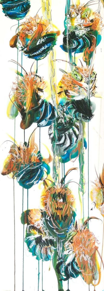 Meaghan Potter, Blue Banded Bees 3, 2017, Watercolour, ink and charcoal on paper, 114 x 45 cm