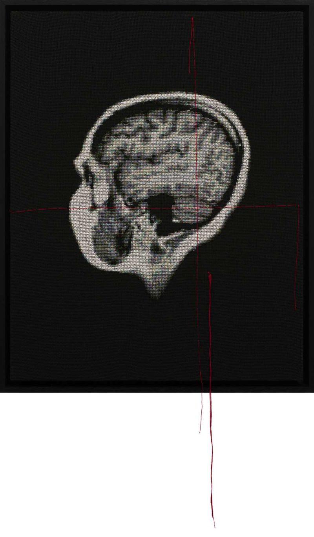 'Self Portrait; Artist's Brain A', 2014, Stranded cotton on aida cloth, 48.5 (65) x 39 cm