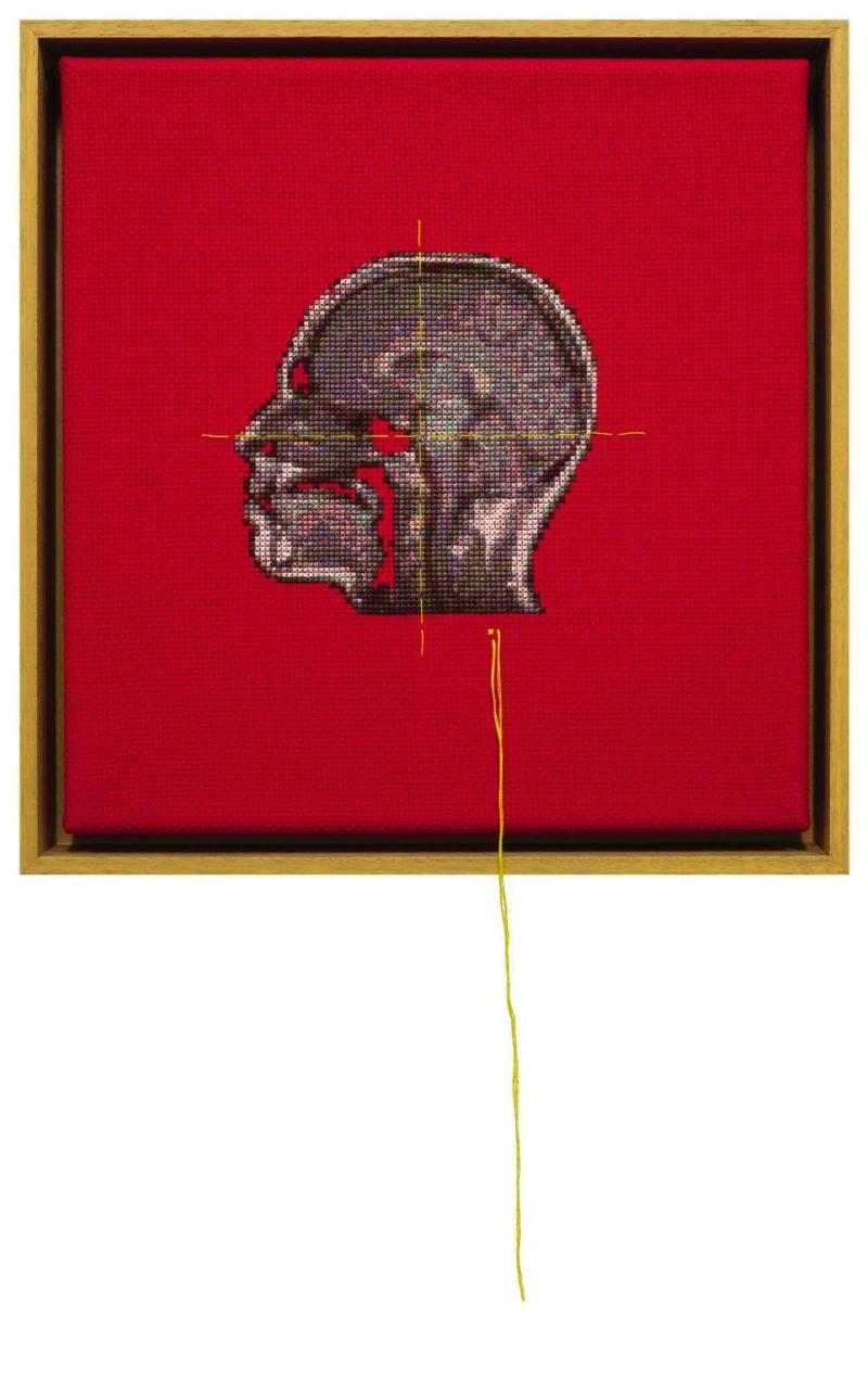 'Self Portrait; Artist's Brain D', 2015, Stranded cotton on aida cloth, 30 (45) x 29 cm