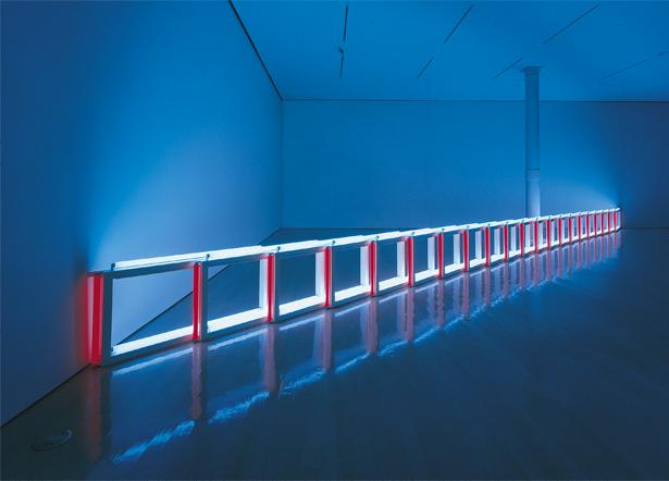 Dan Flavin, an artificial barrier of blue, red and blue fluorescent light (to Flavin Starbuck Judd), 1968, blue and red fluorescent light