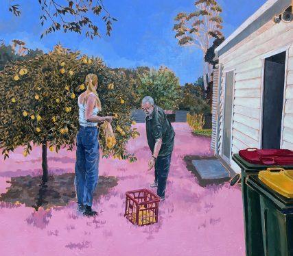 'Pops Lemons' 2021, Lili Montefiore, 81h x 91w cm, acrylic on board, framed in tasmanian oak, $2,500